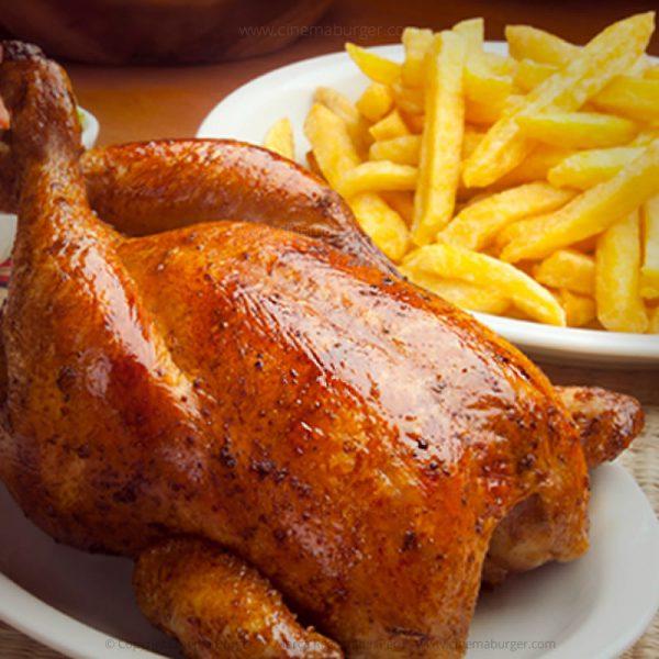 Pollo a la brasa con papas fritas - Cinema Burger®
